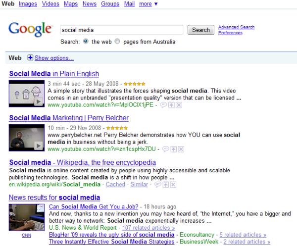 Social Media Results Google Search V2