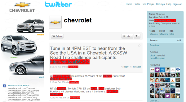General Motors Chevrolet Twitter Page Social Media Marketing Competition