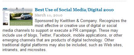 PR Week Awards Best Use Of Social media Ford Social Media Marketing