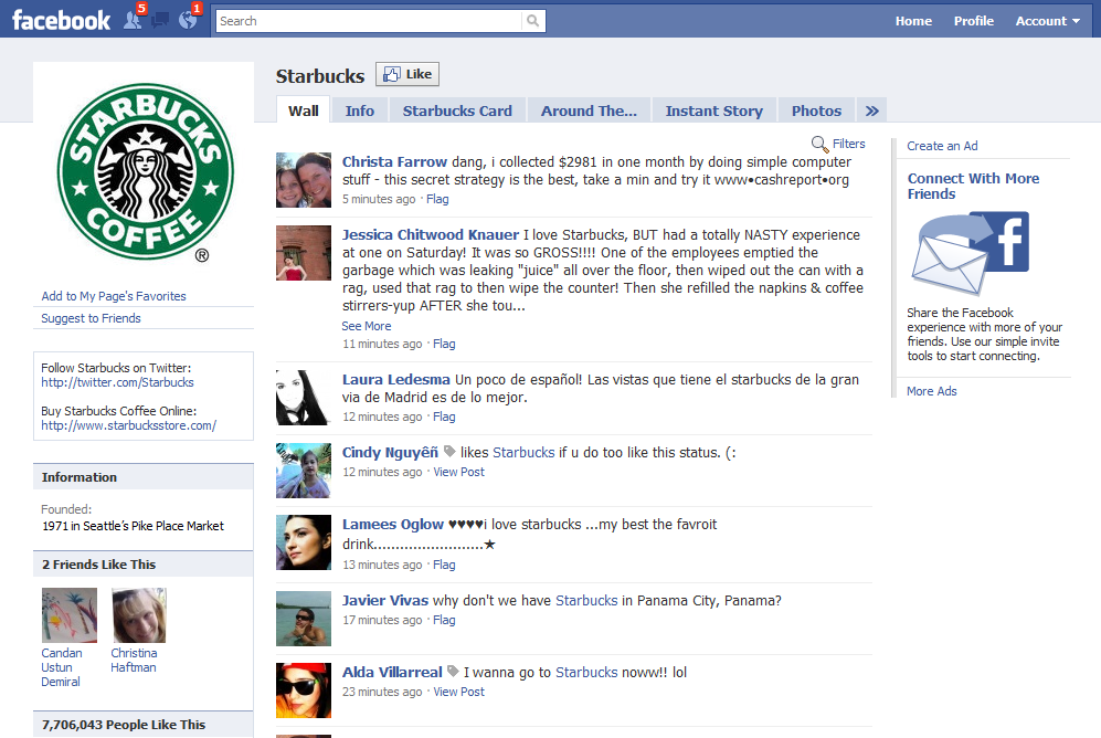 Starbucks Social Media Engagement Channel Facebook