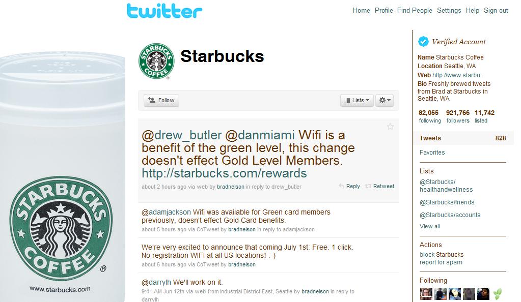 Starbucks Social Media Engagement Channel Twitter